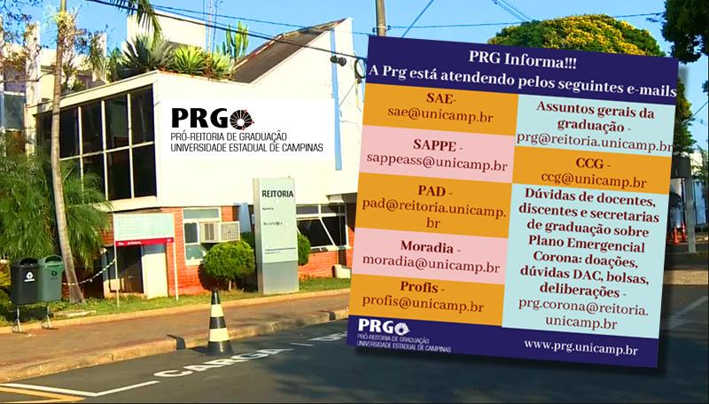 PRG informa email de contatos dos órgãos que compõem a Pró-reitoria de Graduação
